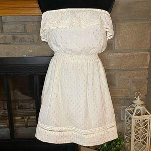 Express White & Gold Strapless Ruffle Dress Small